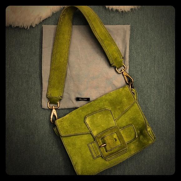 b3c4f76a3 Miu Miu Bags   Edera Green Suede Buckle Shoulder Flap Bag   Poshmark